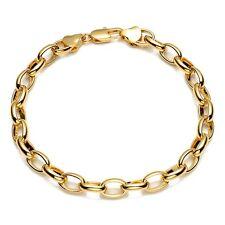 "Men/Women Bracelet Charms Chain 18K Yellow Gold Filled 8"" ring Link"