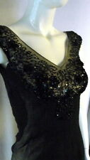 VTG 1950s 60s Jean of California  COUTURE Heavily Beaded Cocktail Dress Bust 32