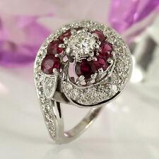 Ring in 585 Weißgold 14K mit 8 Rubin Edelsteinen + 33 Diamanten ca 1,40ct Gr. 53