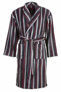 Camille Mens Black Grey & Red Striped Supersoft Bathrobe Dressing Gown