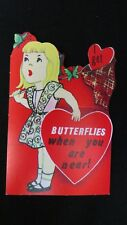 Vintage Butterfly Catching Valentine Card c. 1950s unsigned