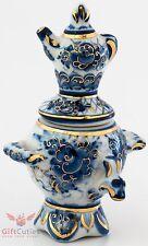 Gzhel  Blue White & Gold Porcelain Samovar Teapot Figurine collectible souvenir