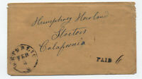 1850s Republic Ohio to Stockton CA 6 paid stampless rate [5247.27]