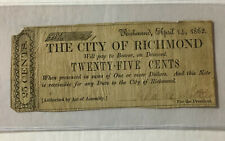 1862 City of Richmond Fractional 25 Cent Note , Low Serial Number