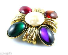 BIG Vintage 1980s 90s Lawrence VRBA Goldtone Glass & Faux Pearl Brooch PIN