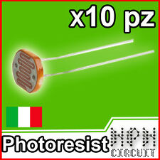 10X FOTORESISTENZA 5mm SENSORE LUMINOSITA fotocellula PHOTORESISTOR
