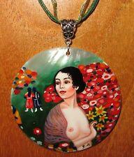 Genuine Dipinti a Mano Guscio Ciondolo Gustav Klimt Riproduzione La Ballerina NUDE Art