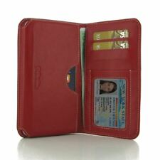 Pdair Leather Wallet Book Type Case Cover for Apple iPhone 8 - Red