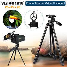 25-75X70 Zoom Spotting Scope Telescope W/Cellphone Adaptor+Tripod Waterproof Bag