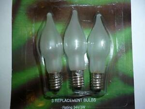 3 X E10 Replacement Screw In Frosed Candle Bulbs 34v 3w (SB236)