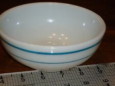 Vtg Pyrex Soup/Cereal Bowl 705-12 White Milk Glass Twin Blue Band Stripes