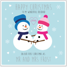 Personalised Our First Christmas Together Snowmen Card Husband Wife Mr & Mrs
