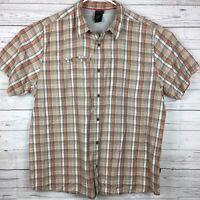 The North Face Button Front Short Sleeve Plaid Shirt Mens XXL Orange Tan Plaid