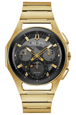 NEW BULOVA CURV YELLOW GOLD PVD CASE AND BRACELET CHRONOGRAPH 97A144
