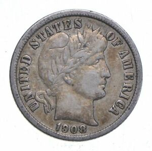 Higher Grade 1908-D Barber Liberty US Silver Dime Great Detail in LIBERTY *737
