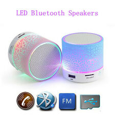 Round LED Portable Wireless Bluetooth Mini Speaker Support With USB MicroSD