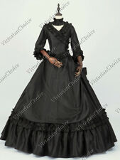 Victorian Fantasy Bustle Black Dress Gown Adult Witch Halloween Costume 330