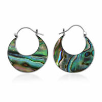 925 Sterling Silver Abalone Shell Hoops Hoop Earrings Gift Jewelry for Women