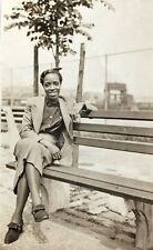 1940 Pretty Negro Lady Smiling On a Bench  Photo