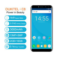 OUKITEL C8 3G Smartphone 5.5 2.5D Android 7.0 1.3GHz Quad Core 2GB+16GB 8.0MP DE