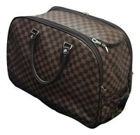 Travel Bag Holdall Luggage Weekend Handbag Wheeled Trolley Bag Stars Check Print