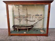 Maquette diorama bateau greement goelette bois port Honfleur Maillard 1904