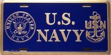 Aluminum Military License Plate U S Navy Logo and Anchor NEW