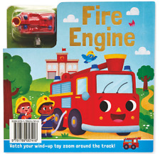 BUSY DAY BOARD BOOK  - Fire Engine Story/Interactive = Wind up toy/track NEW