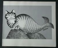 B Kliban Cats Mermaid Cat vintage funny cat art black and white print 1981