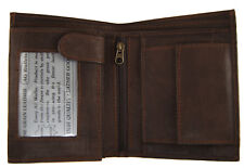 AG Wallets Mens Trifold Wallet 3 ID Slots Coin Pocket Hipster Premium Leather