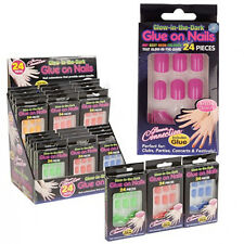 24PC GLOW IN THE DARK NAILS GLUE ON STYLISH + ADHESIVE PARTY DRESS UP EASY APPLY