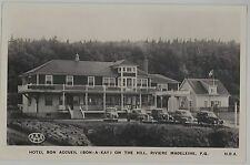 1930s Hotel Bon Accueil on the Hill Riviere Madeleine Quebec real photo postcard