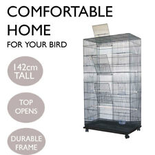 Bird Cage Parrot Aviary Pet Stand-alone Budgie Perch Wheels Castor Large