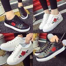 Fashion Womens Lace Up Sports Running Sneakers Embroidery Flower Trainers Shoes