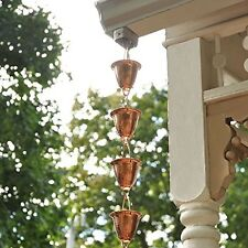 8ft Rain Catcher, Chain Metal Cups Sounds Decor Hang Outdoor Adjustable Copper