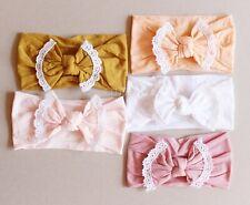 Newborn Baby Girl Top Knot Headband Turban Bow Lace Nylon Head Wrap Accessories