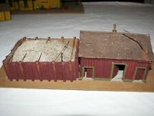 """Vintage Toy Train Building Made of Wood 2""""  Factory Dirt Yard Business"""