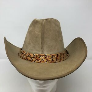 Resistol Self Conforming Brown Leather Cowboy Hat Size 7 USA Made Ranchman