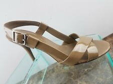 Banana Republic Tan Leather Slingback Peep Toe Stiletto High Heels Womens 8M