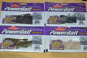 "4 bags berkley powerbait maxscent flat worm 3.6"" drop shot max scent assortment"
