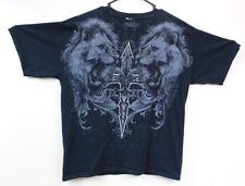 MMA ELITE Men's Black Short Sleeve  Fierce Lions Graphic T-Shirt Size Large