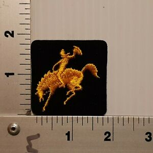 1980's  BRONCO BUSTING RODEO BLACK & YELLOW VINTAGE EMBROIDERED PATCH (SQUARE)