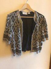 laurence kazar vintage beaded borelo jacket cream black XL Extra large silk Bead