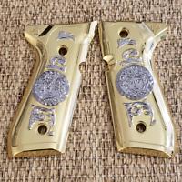 Beretta Fs 92 96 Cachas Gold plated Grips + Beretta grip screws included