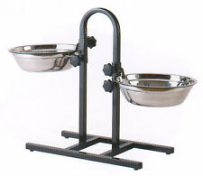 3 Quart Adjustable Raised Double Stainless Steel Dog Diner Bowls Food Water 888