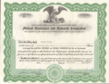 Medical Electronics and Research Corporation > New Jersey stock certificate