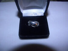 """CROSS OVER DESIGNER ROLLING RING BY """"GUESS"""" SILVER SETTING NEW FITS 6 1/2 to 7"""