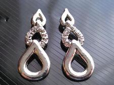Silver with Rhinestones Shiny Diamante Waterdrops Ladies Earrings Studs E15