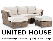 Outdoor Wicker Corner Chaise Sofa Couch Rattan Cane Ottoman Furniture Setting