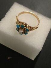 Antique SOLID 14k Yellow Gold Turquoise And Pearl Ring Size 7